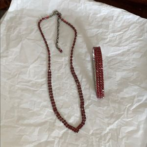 "Jewelry - Red ""V"" necklace with matching bracelet"
